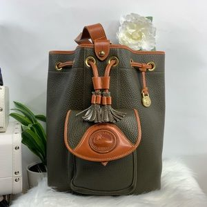 Dooney Bourke vintage sling backpack. Olive green.